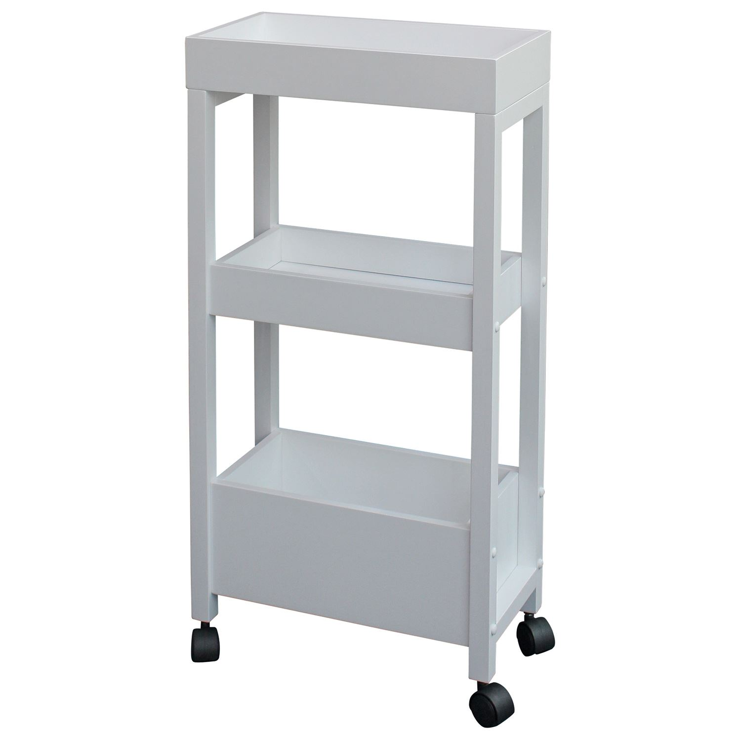 Wooden Bathroom Trolley on Wheels White Bath Cart Storage ...