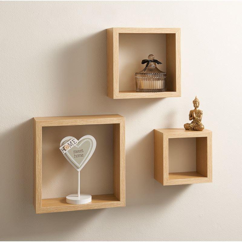set of 3 floating cubes wall mounted storage book cd display unit shelves square ebay. Black Bedroom Furniture Sets. Home Design Ideas
