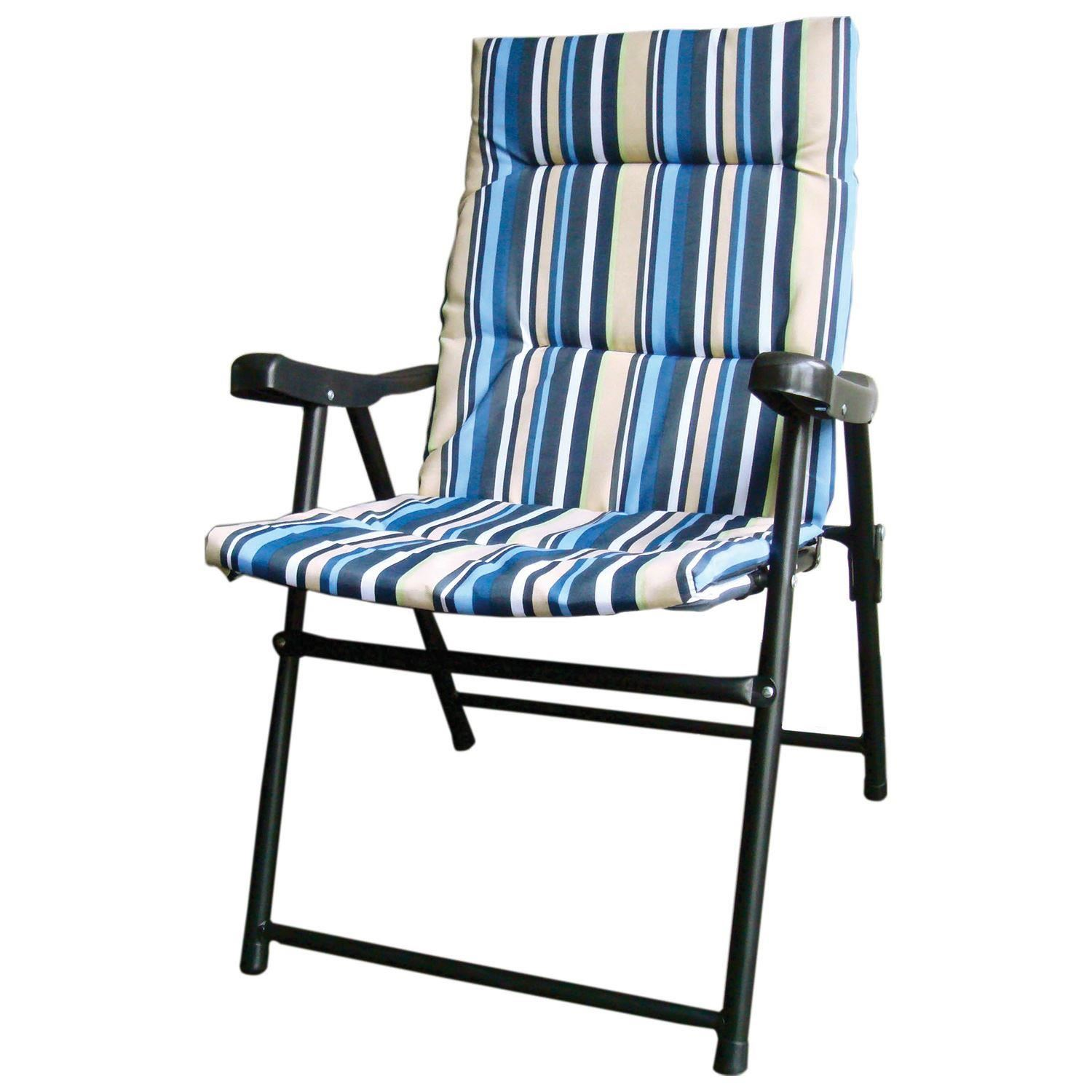 2 X Striped Padded Folding Outdoor Garden Camping Picnic