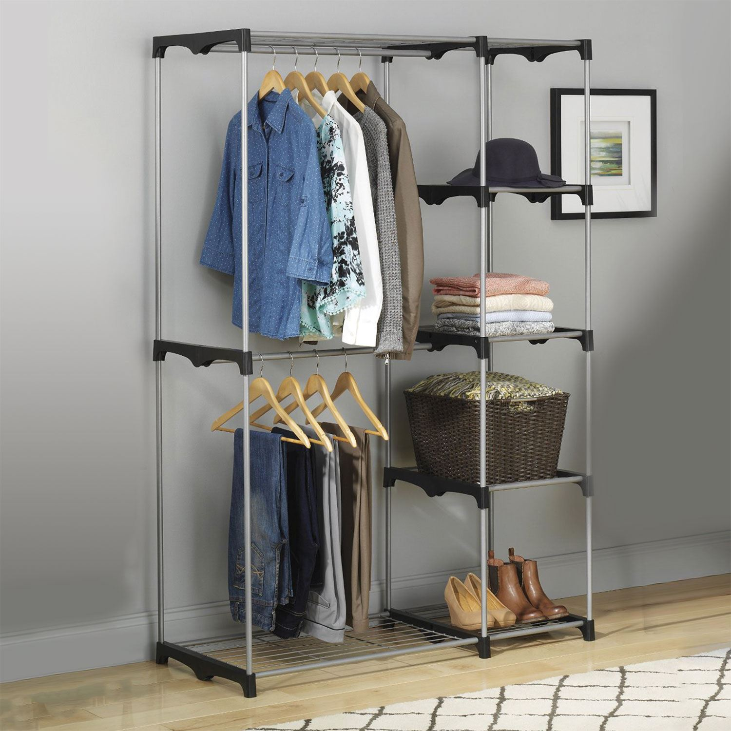 Double Rod Freestanding Portable Clothes Wardrobe Closet