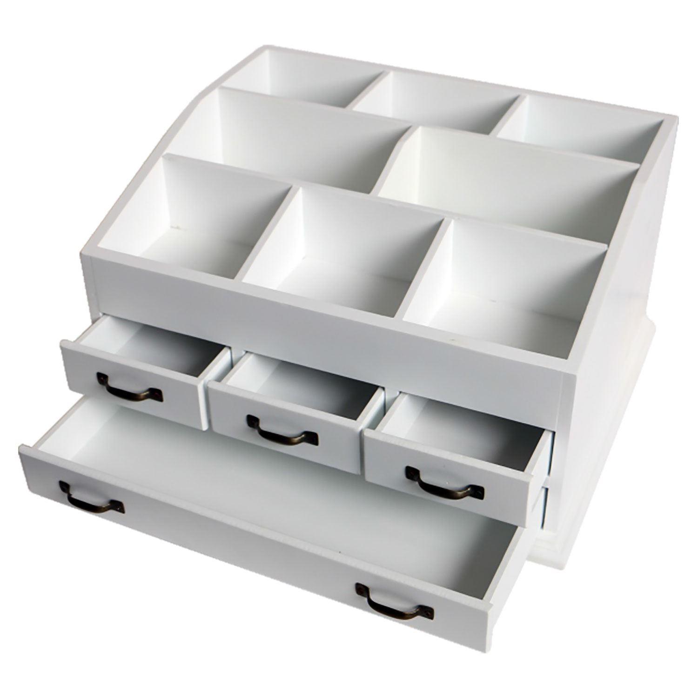 cosmetic organizer wooden make up 4 drawers holder. Black Bedroom Furniture Sets. Home Design Ideas