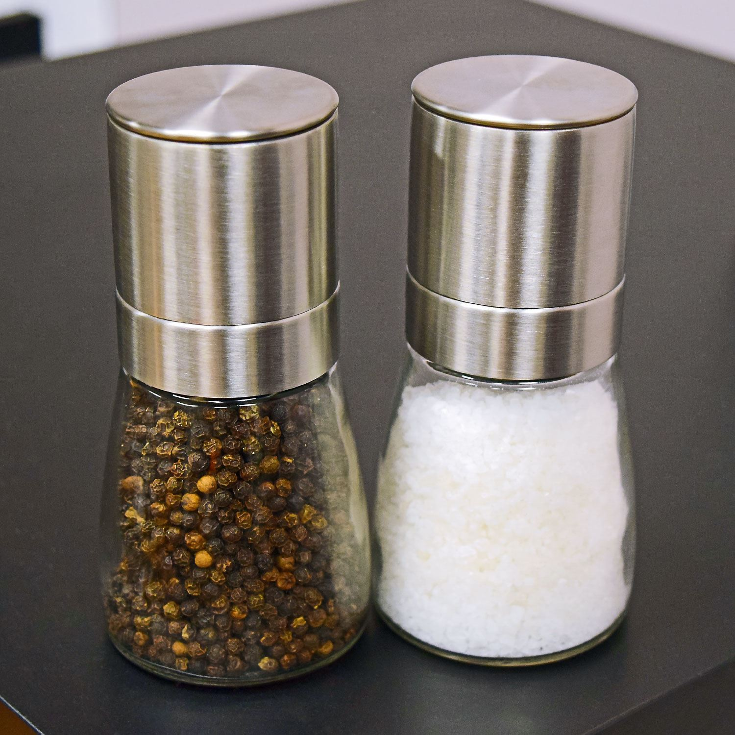 Salt pepper grinder pc set spice herp glass muller hand