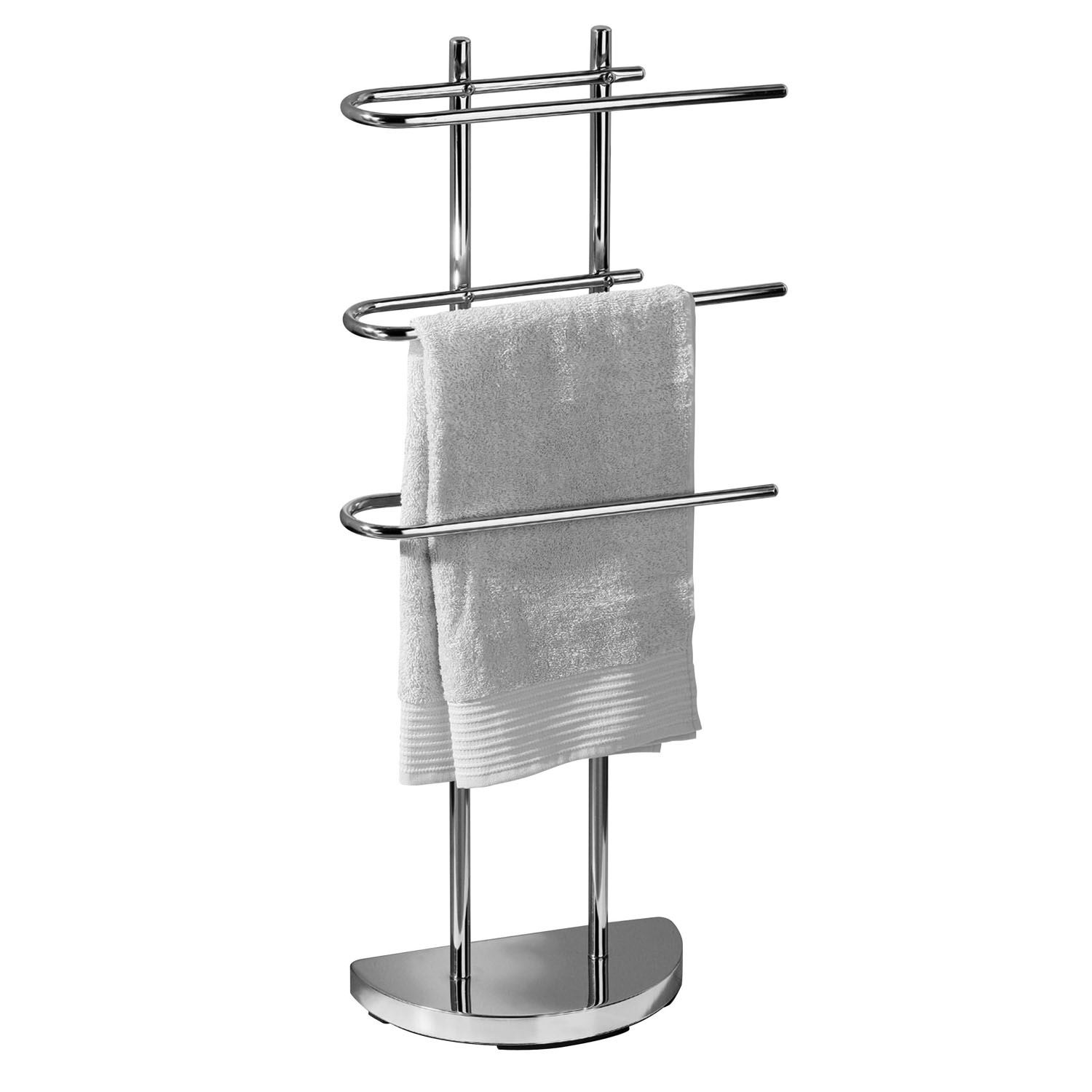 3 arm free standing chrome towel rail stand bathroom - Free standing bathroom towel rack ...
