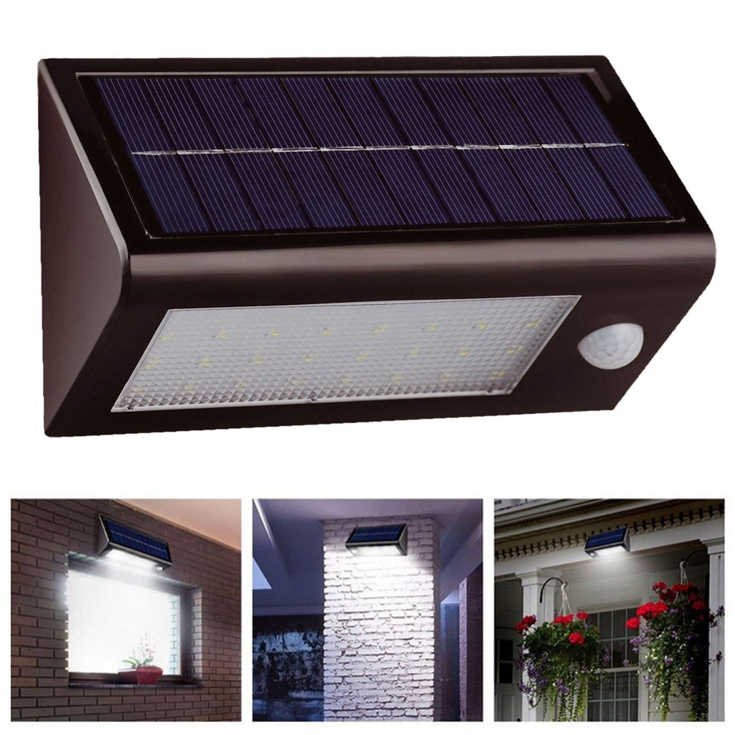 Solar Pir Motion Sensor Security Floodlight Shed Lamp