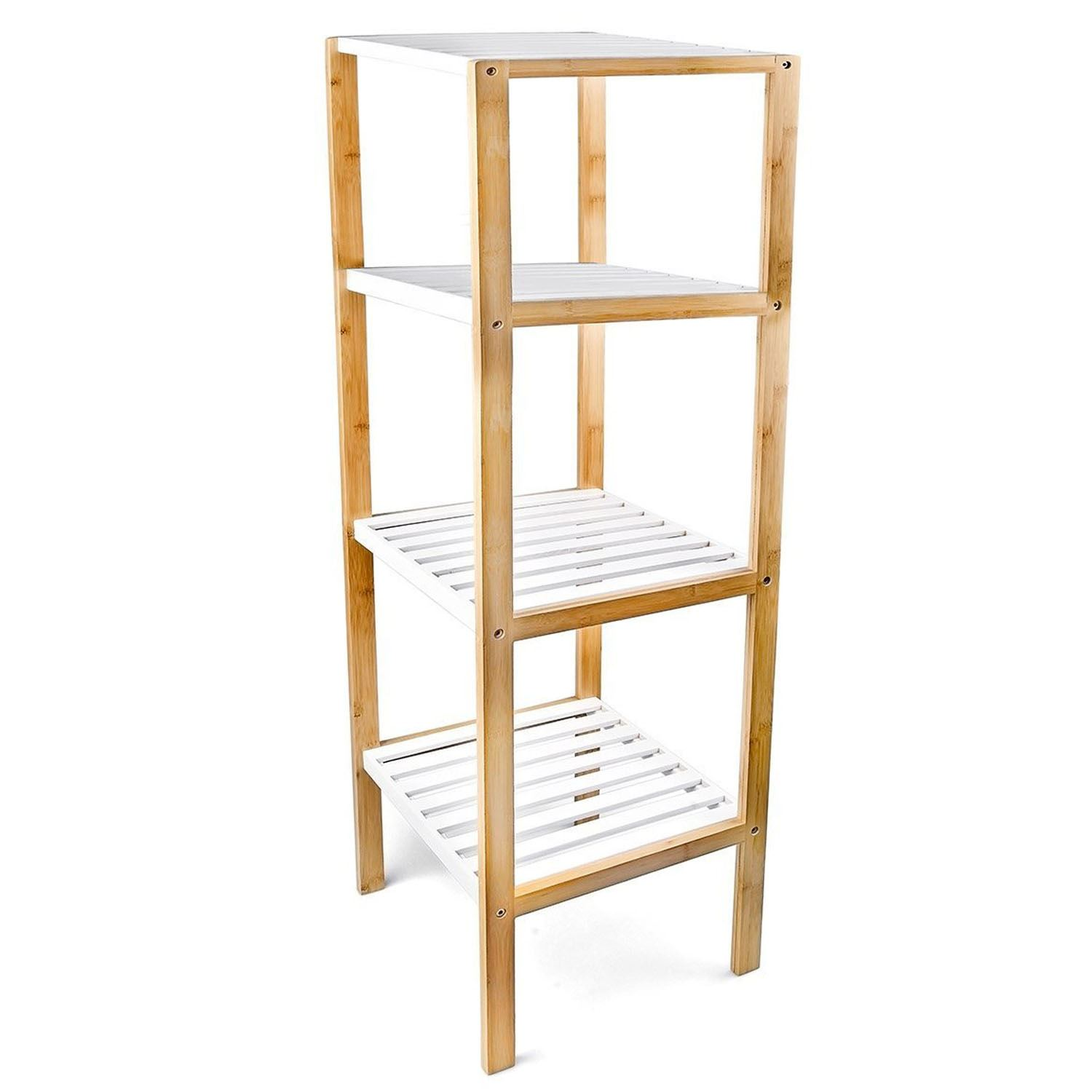 Excellent Bamboo Bathroom Corner Tower With 5 Shelves In Cherry By Altra
