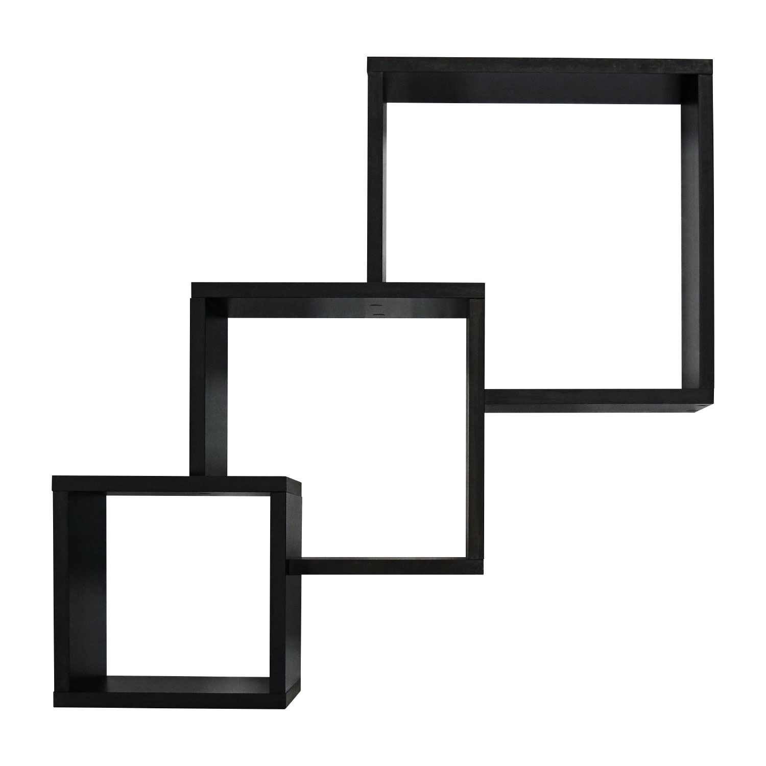3 connected wood wall mounted cube shelves storage display. Black Bedroom Furniture Sets. Home Design Ideas