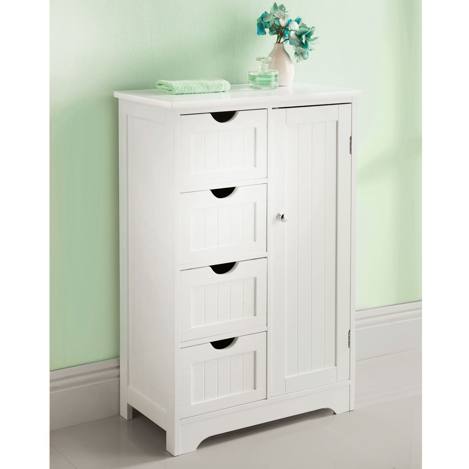 White wooden bathroom cabinet shelf cupboard bedroom for Storage in cupboards