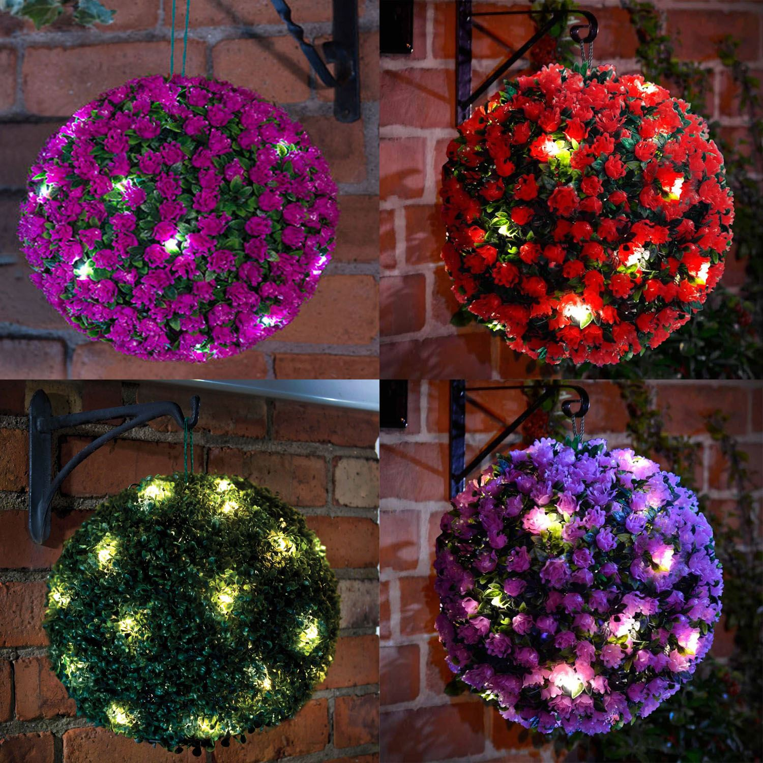 28cm solar powered led rose topiary ball hanging boxwood for Hanging garden ornaments