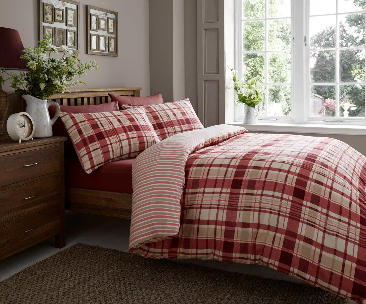 Flannelette Luxury 100% Brushed Cotton Duvet Cover & Pillowcase Bed Set