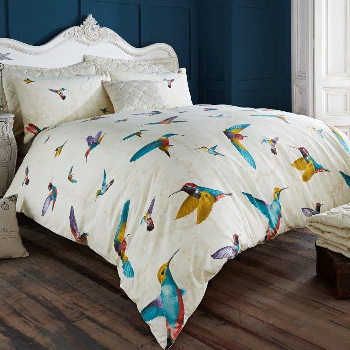 Girls Twin Bedroom With Bird Wallpaper: Humming Bird Duvet Cover With Pillowcase Quilt Cover Bed