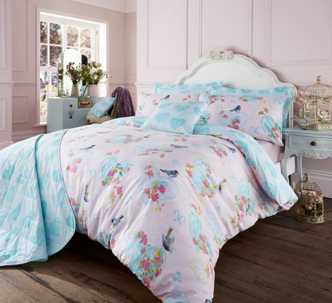 beautiful duvet cover with pillowcase quilt cover vintage love bird bed set ebay. Black Bedroom Furniture Sets. Home Design Ideas