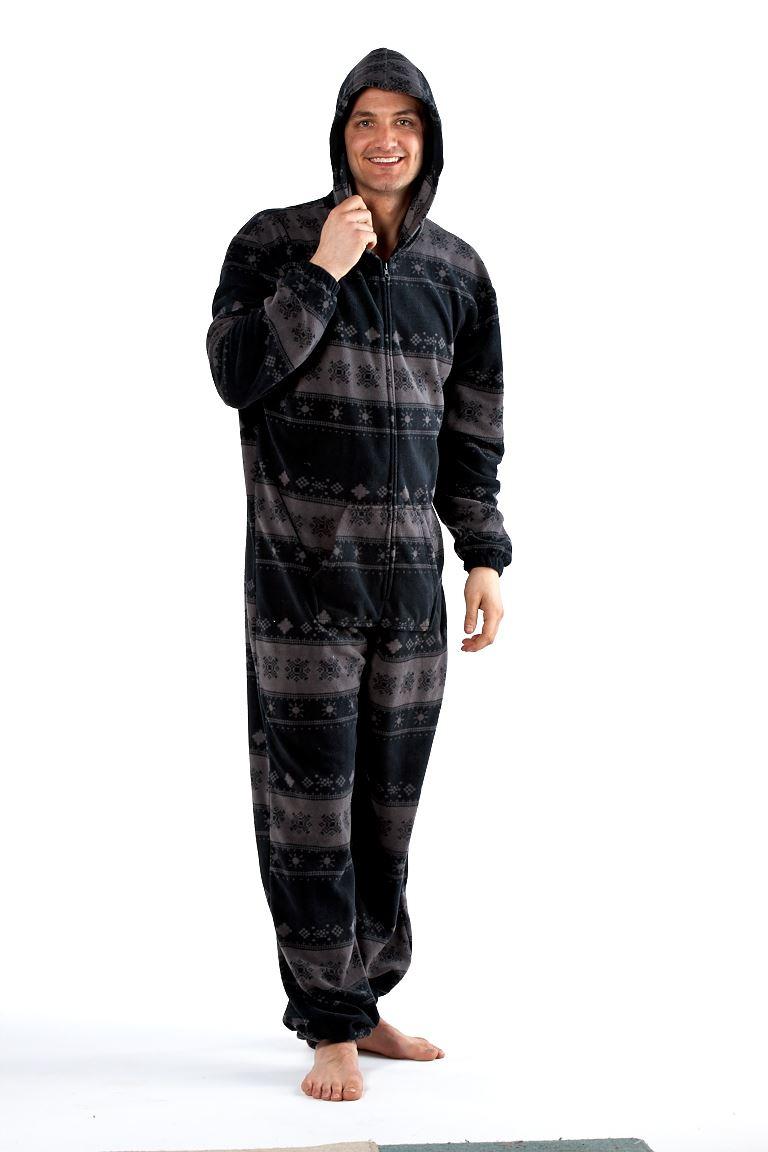 octave combinaison pyjama capuche mati re polaire homme gris ebay. Black Bedroom Furniture Sets. Home Design Ideas