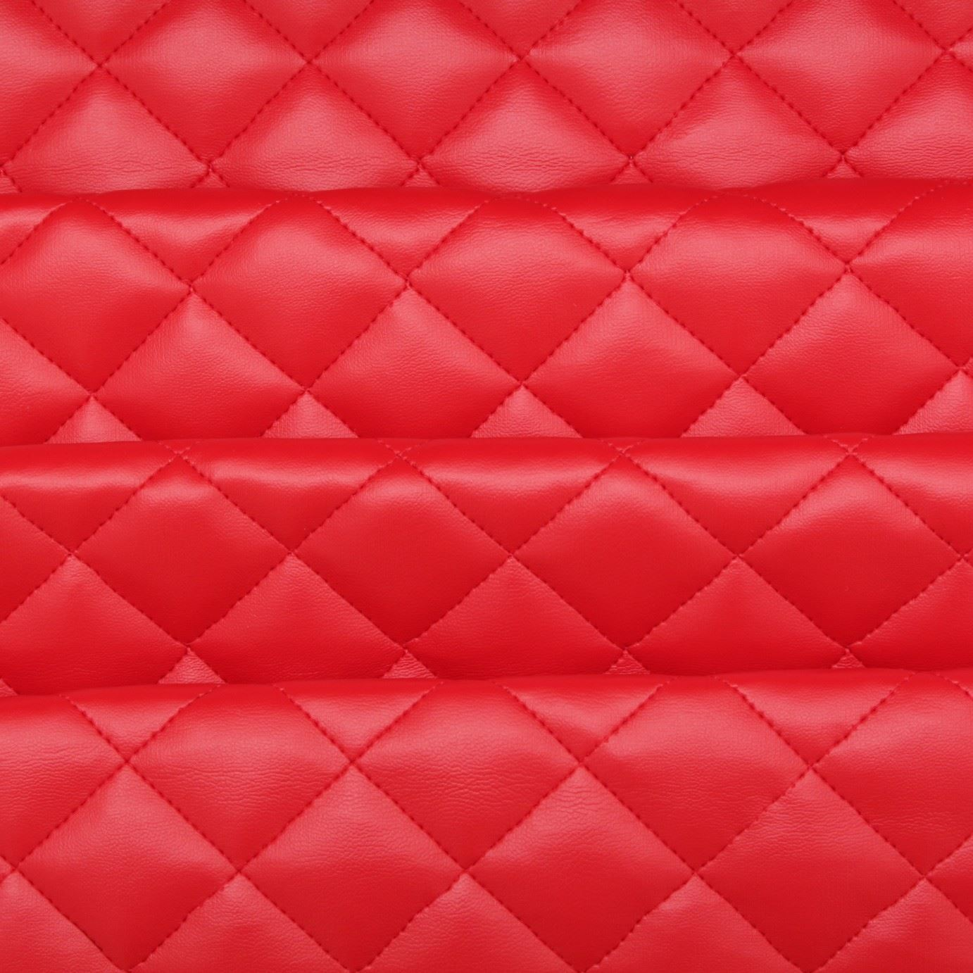 Quilted leather diamond padded cushion faux leather for Red leather fabric