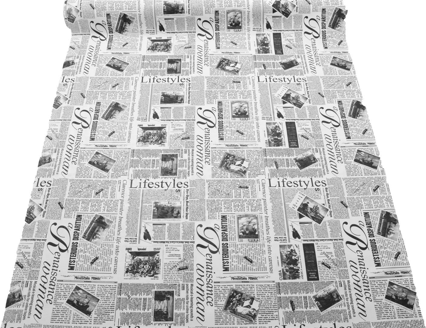 Designer Vintage Retro Newspaper Print Faux Leather Vinyl