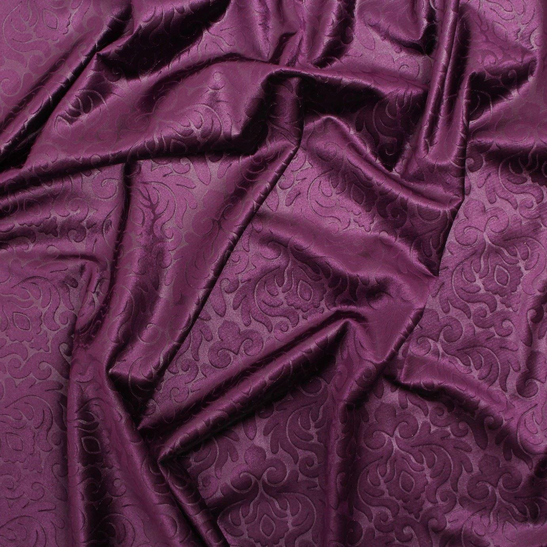EMBOSSED FLORAL DAMASK DRESS CUSHION CURTAIN & MATCHING PLAIN VELVET FABRIC