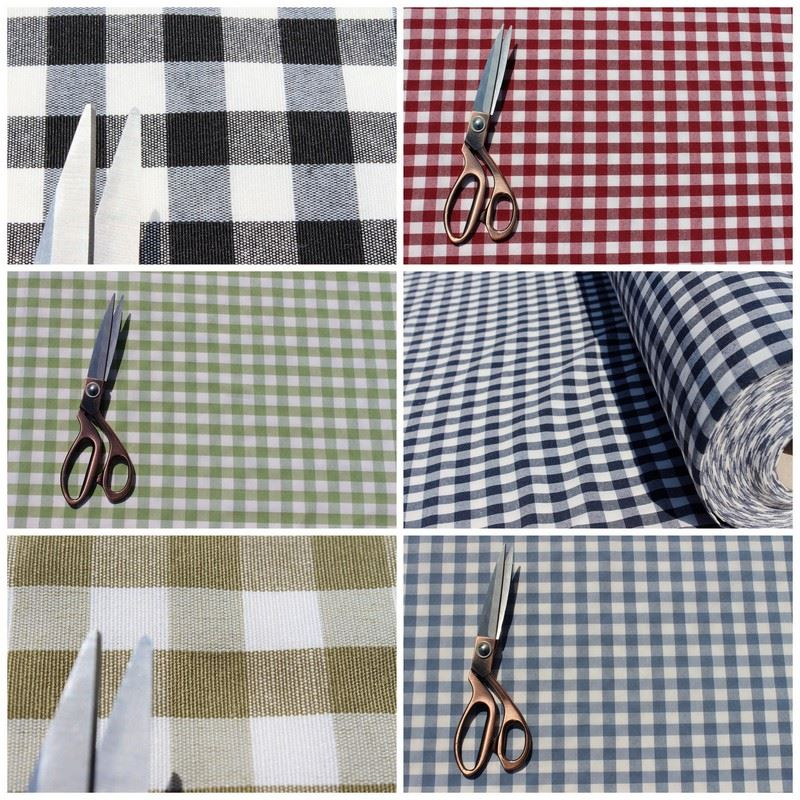 Kitchen Curtain Material: VINTAGE SHABBY HEAVY COTTON GINGHAM UPHOLSTERY KITCHEN