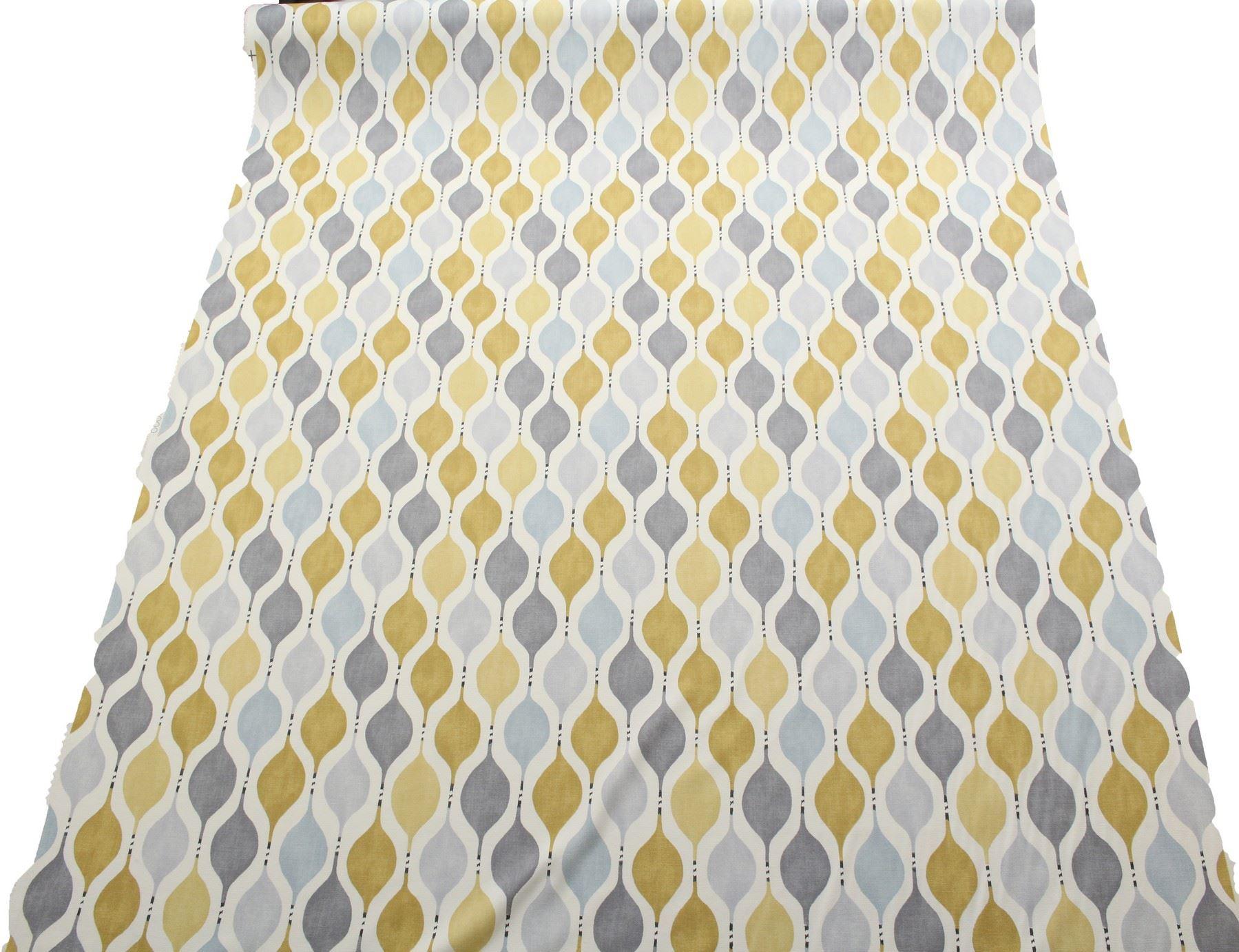 Hour glass retro cotton panama print curtain blinds for Retro fabric