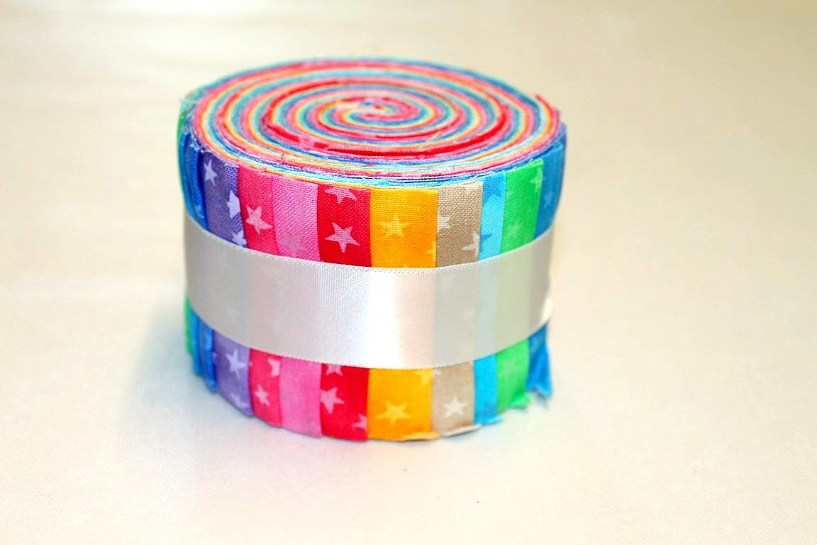 100 Cotton Jelly Roll Bright Rainbow Patchwork Quilting