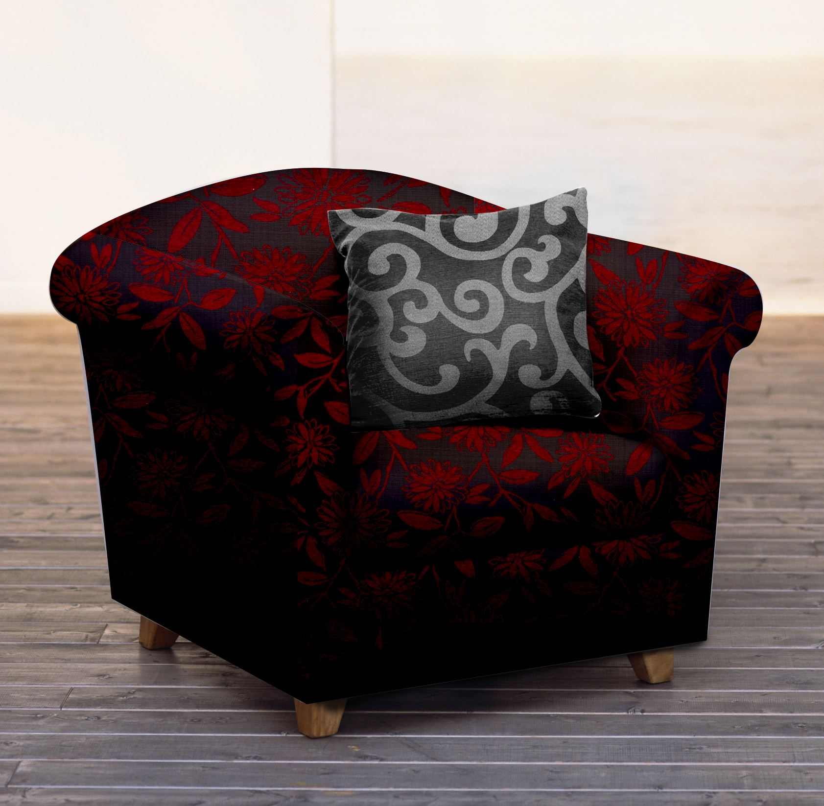 Couch Upholstery Fabric: LUXURY SOFT FLORAL SWIRL CHENILLE FLOWER UPHOLSTERY SOFA