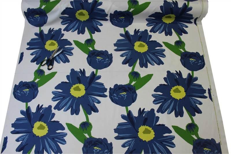 tissu floral grosses fleurs bleu roi coton pour coussin rideaux ebay. Black Bedroom Furniture Sets. Home Design Ideas