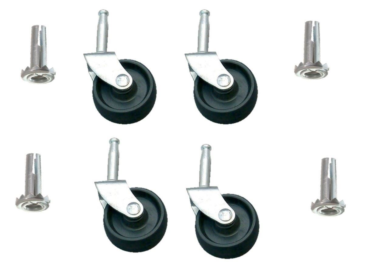 Easy FIX Black Plastic AMP Metal Castors Sockets BED Sofa Office Chair Wheels