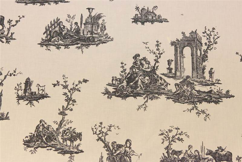 100 cotton toile de jouy linen muslin canvas french scene print cloth fabric - Edredon toile de jouy ...