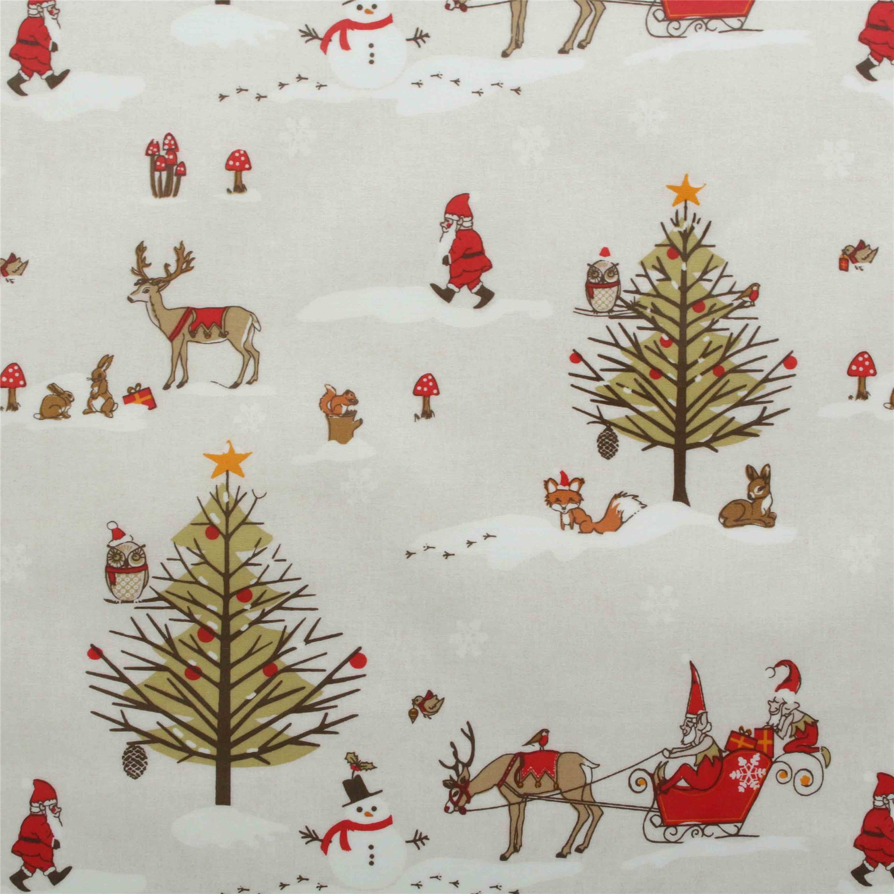 Xmas Vintage Christmas Santa Cotton Wipeclean PVC Tablecloth ...