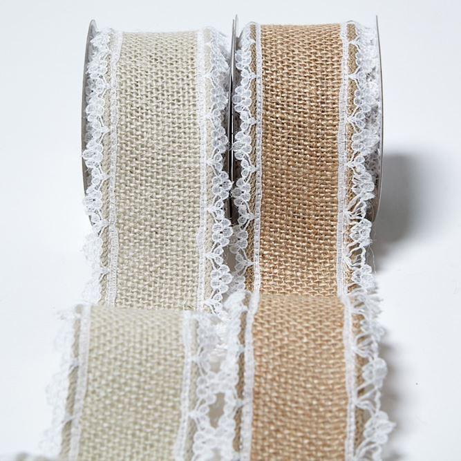 Jute Hessian Burlap Lace Edge Ribbon Vintage Wedding Rustic Craft Ribbon