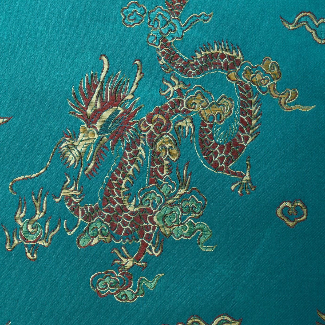 Chinese oriental gold dragon embroidered brocade silky