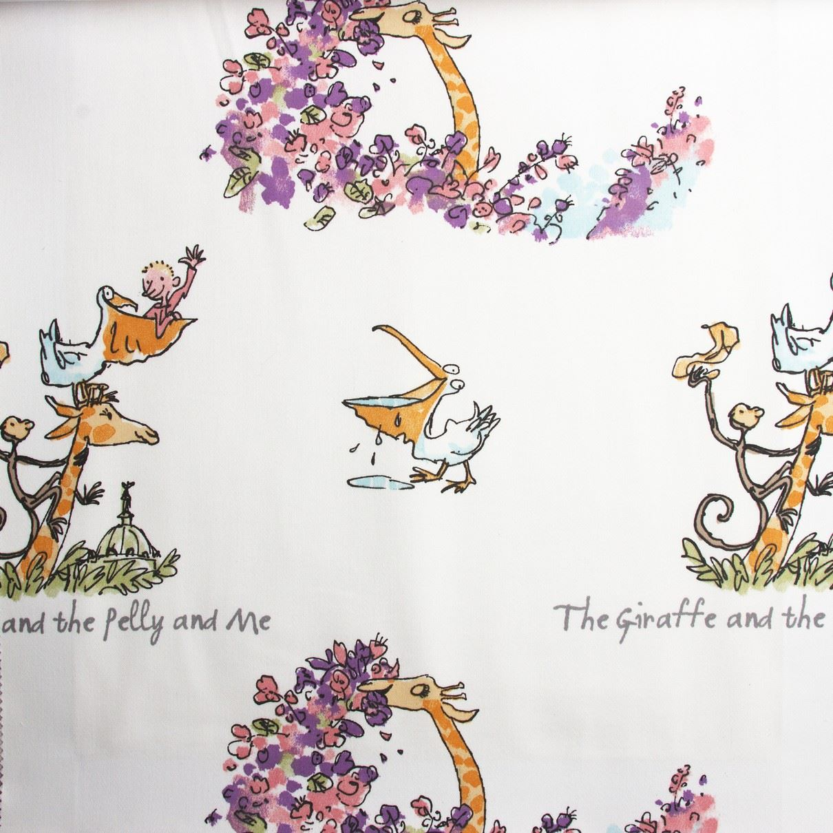 Roald dahl quentin blake art story quilting curtain craft for Children s character fabric