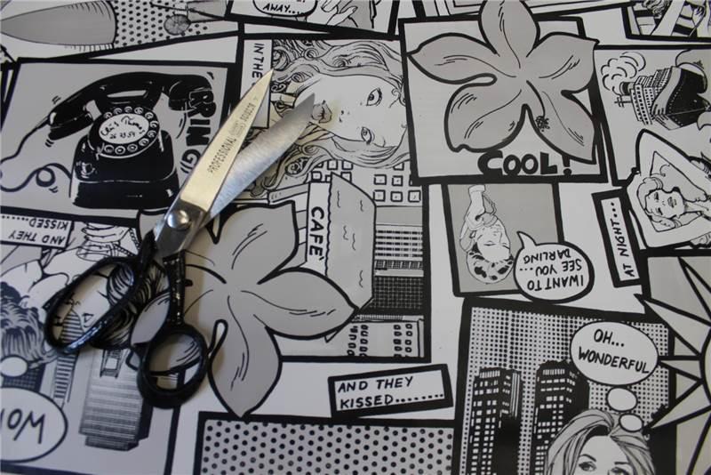 Stoff wachstuch comicstrip popkunst vinyl küchentisch catering ...