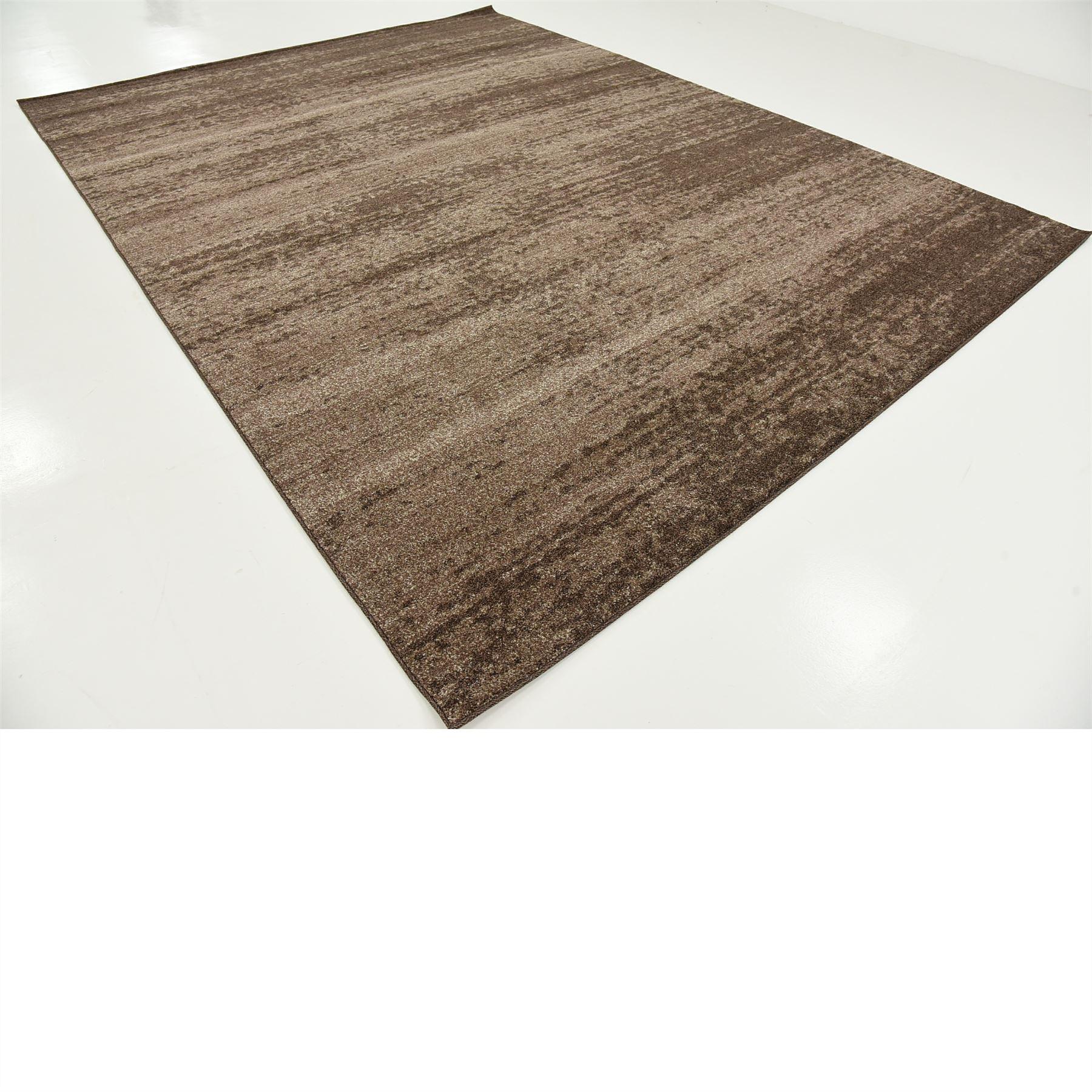 Modern Plain Rugs Soft Thin Pile Area Carpet Brown 9 X 12