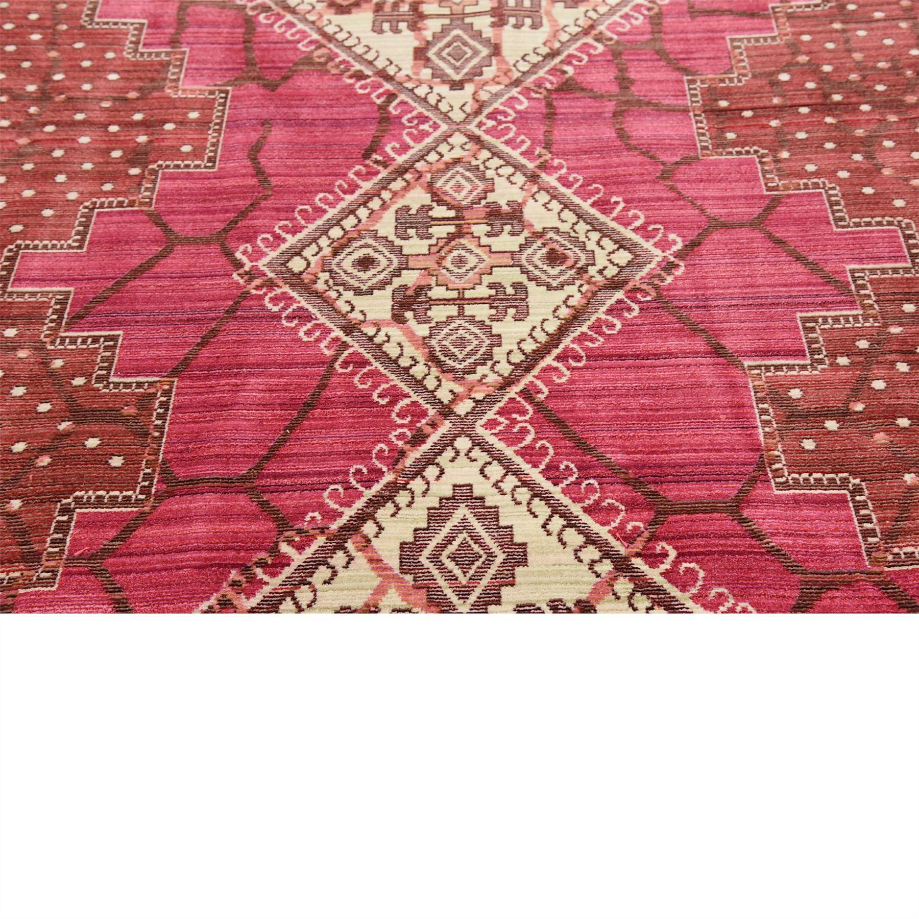 Retro Modern Rug: Modern Vintage Area Rugs Contemporary Carpet Round Magenta