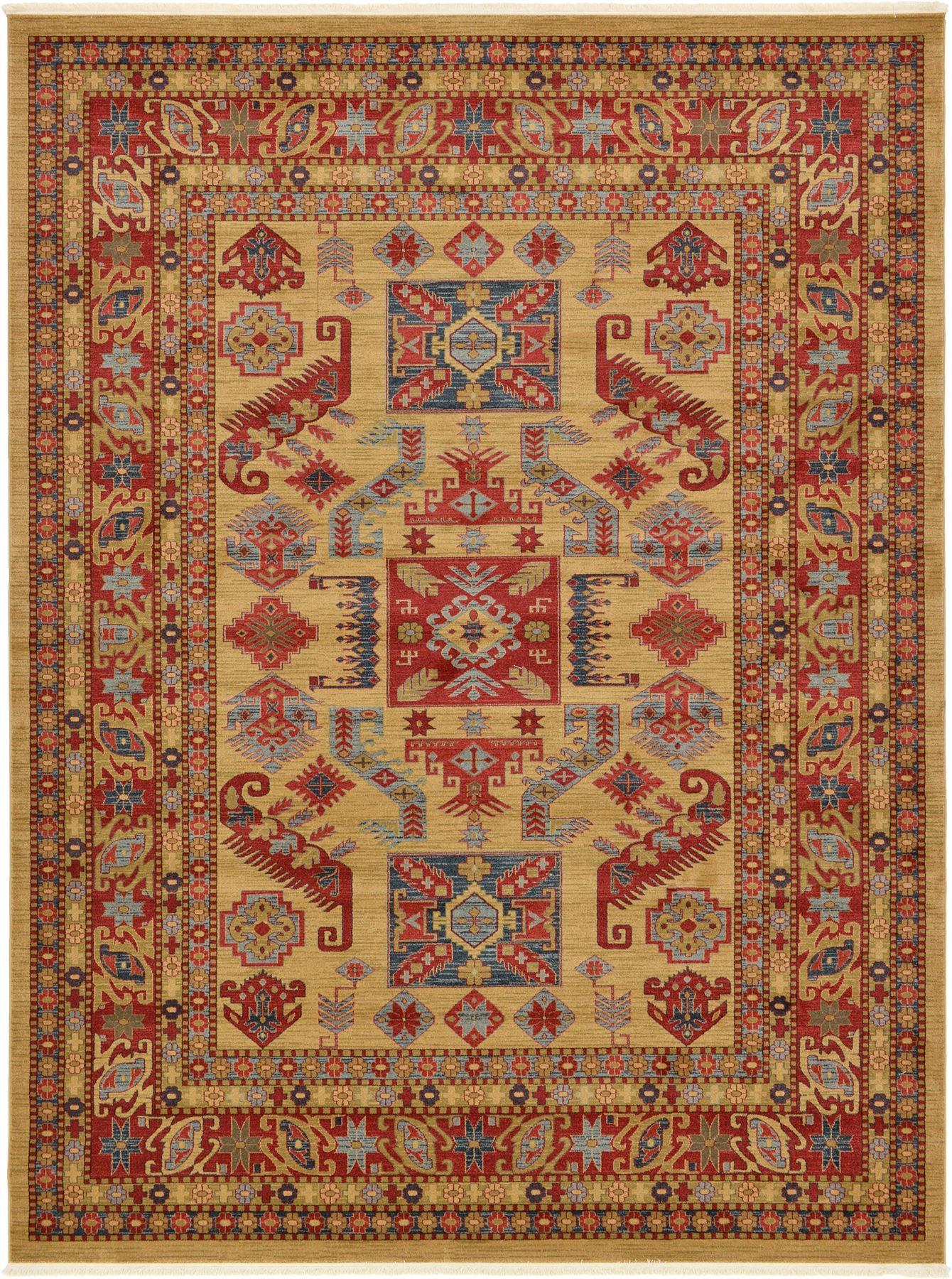 Traditional Oriental Area Rugs Geometric Design Beige 9