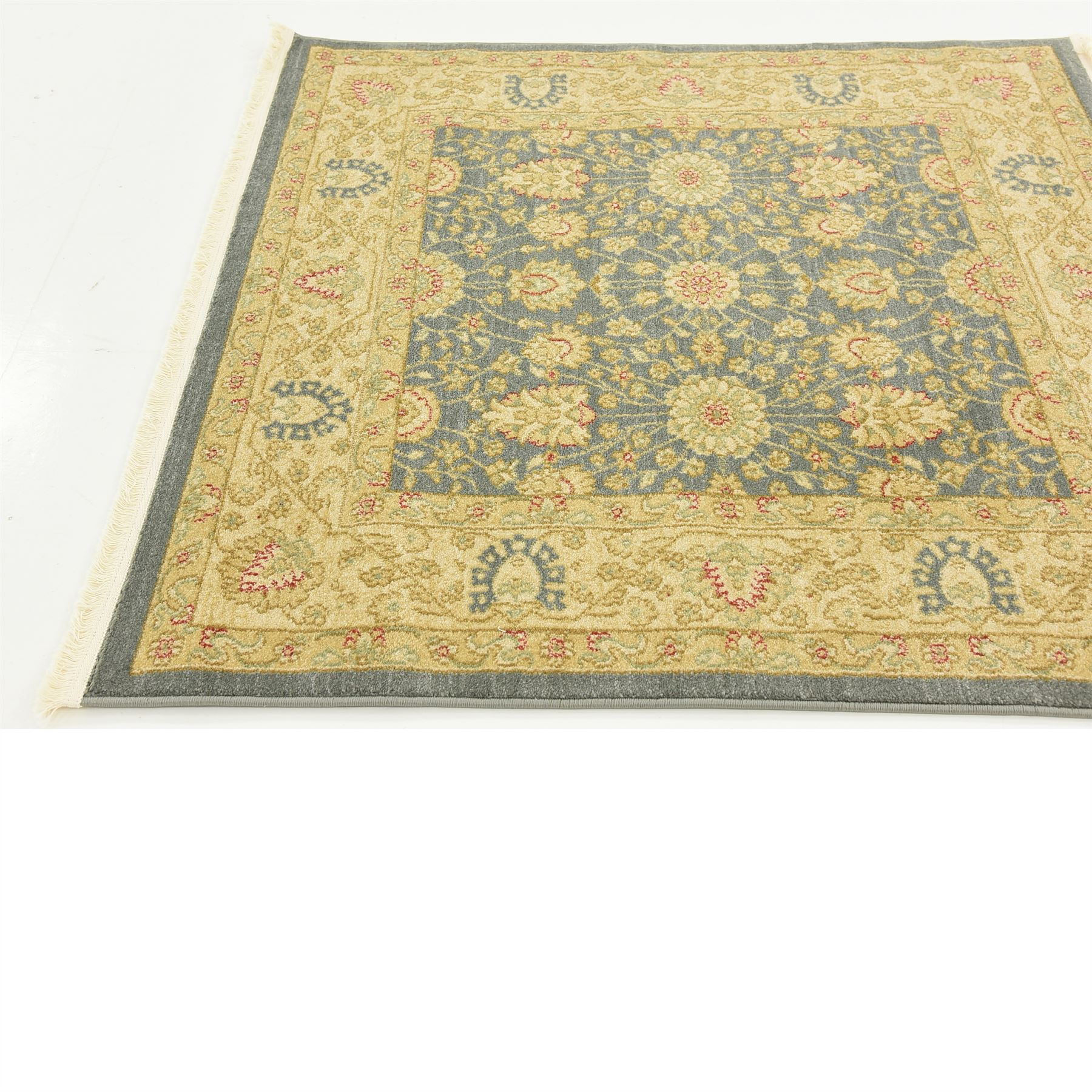 Oriental Traditional Floral Persian Style Rugs Blue 4 X 4