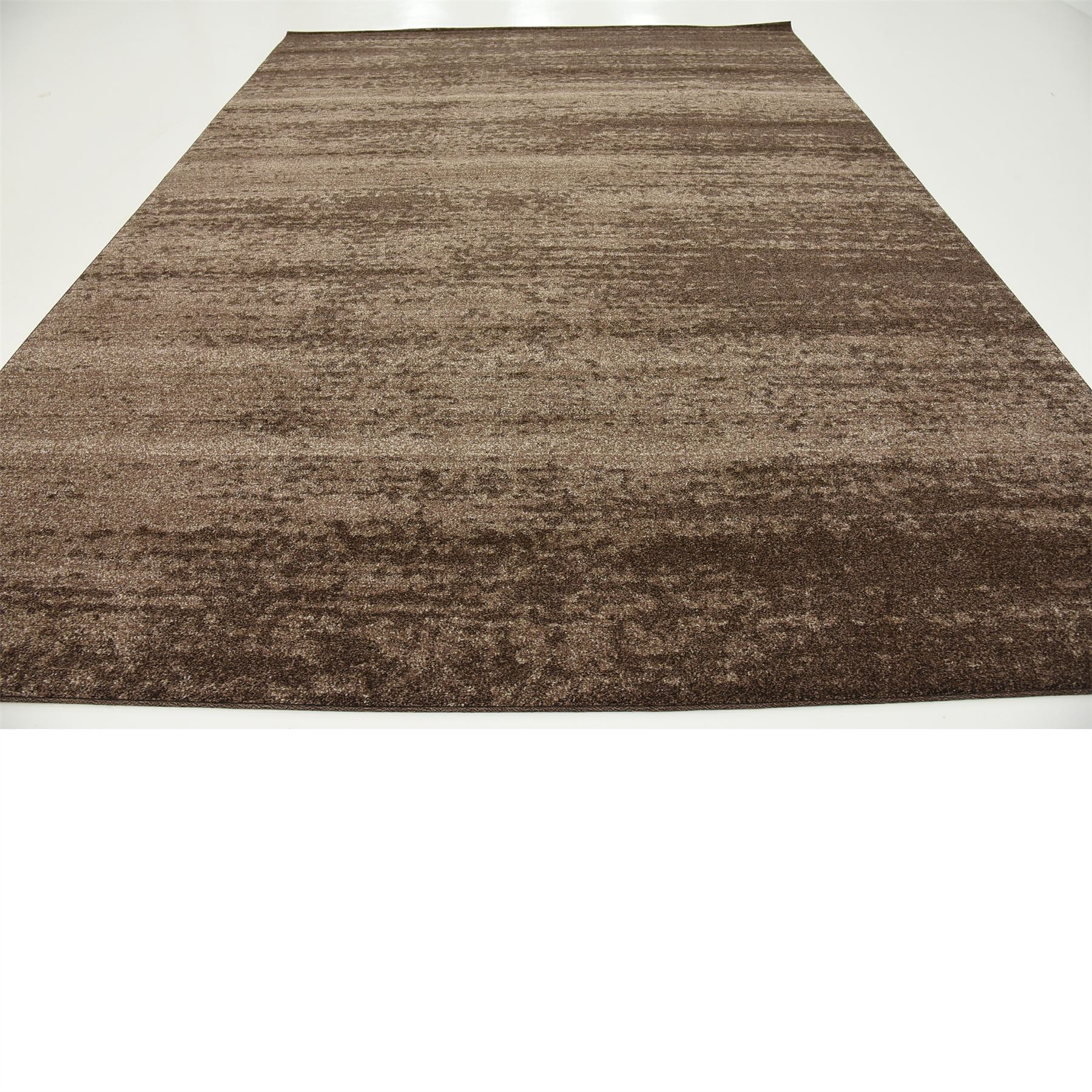 Modern plain rugs soft thin pile area carpet brown 9 39 x 12 for Soft area rugs