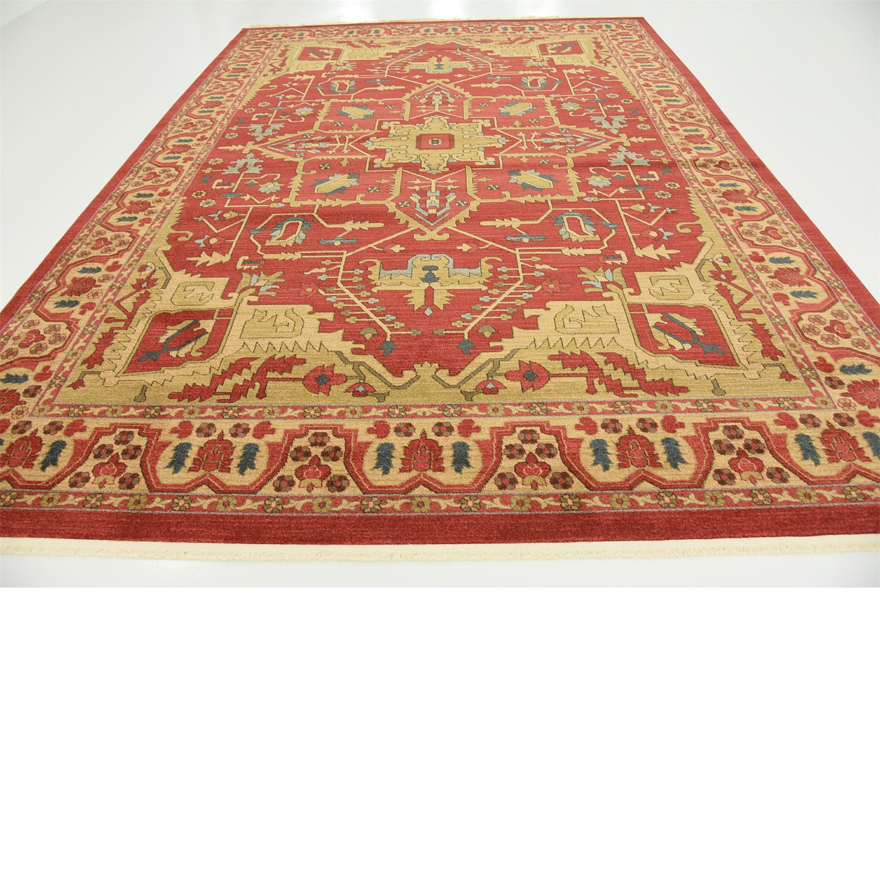 Oriental Rugs: Oriental Carpet Persian Geometric Traditional Rugs Red 9
