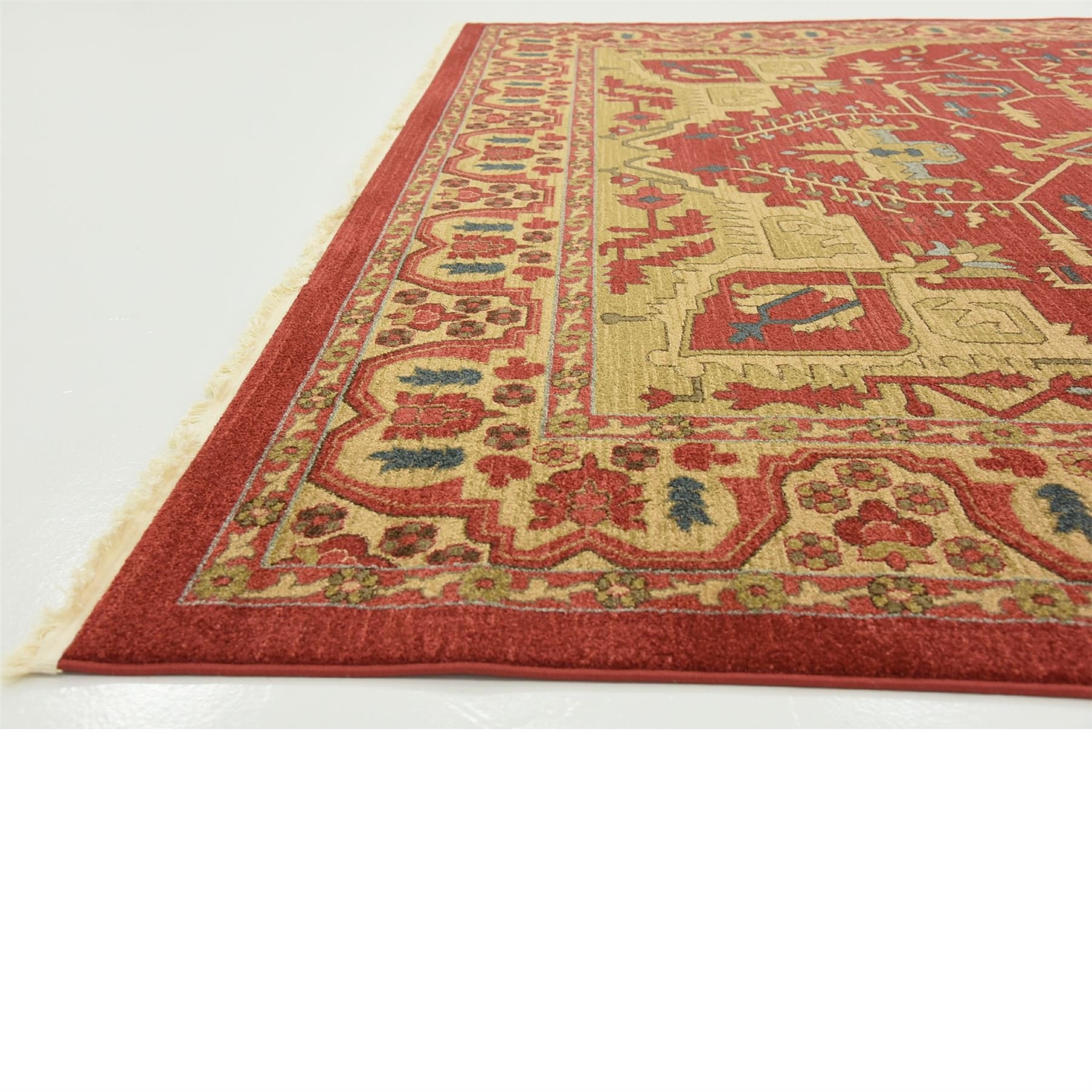Persain Rug: Oriental Carpet Persian Geometric Traditional Rugs Red 9
