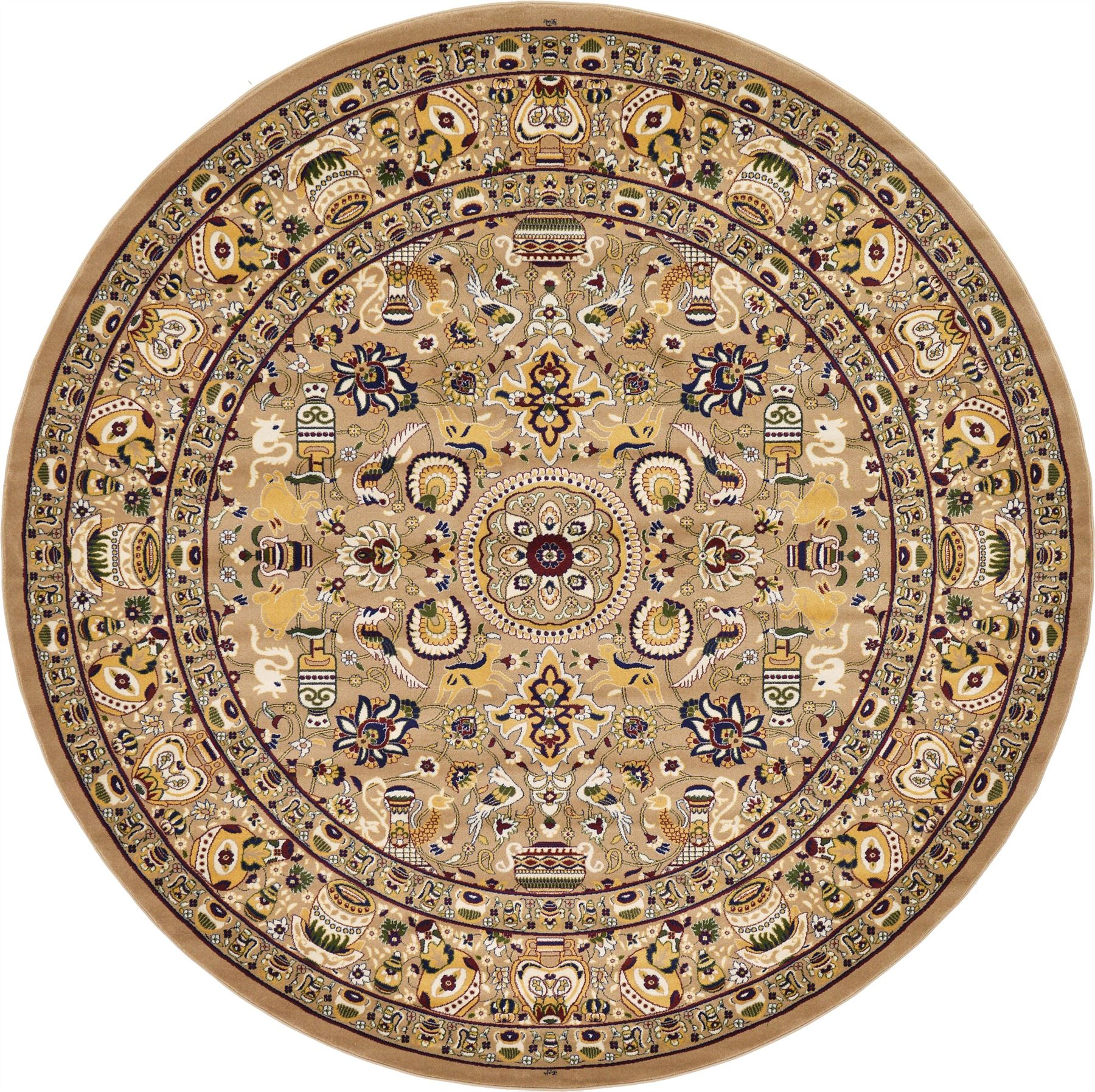 Vintage Circular Rug: Traditional Large Persian Design Area Rug Small Vintage