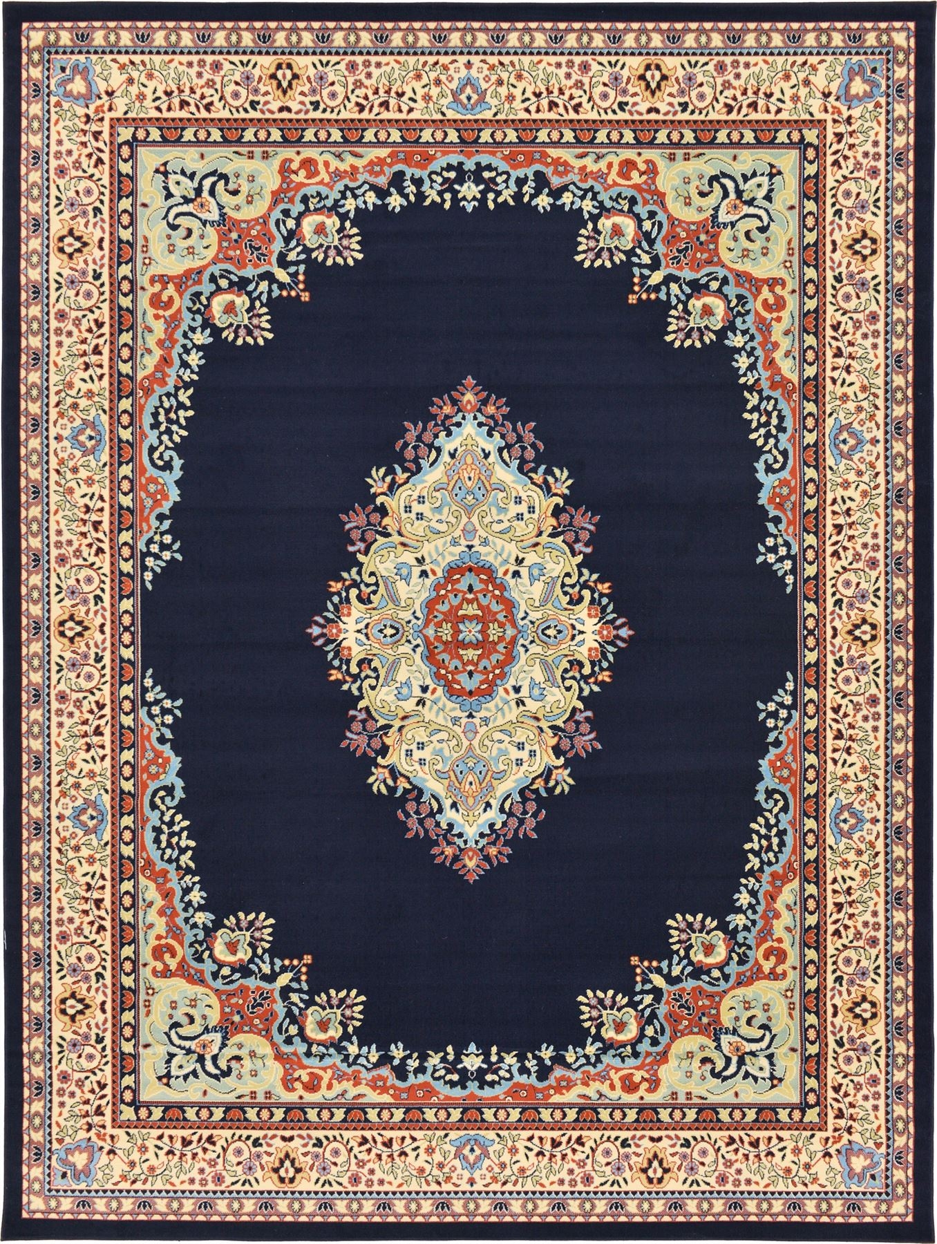Traditional Medallion Area Rugs 9 10 X 13 0 Navy Blue