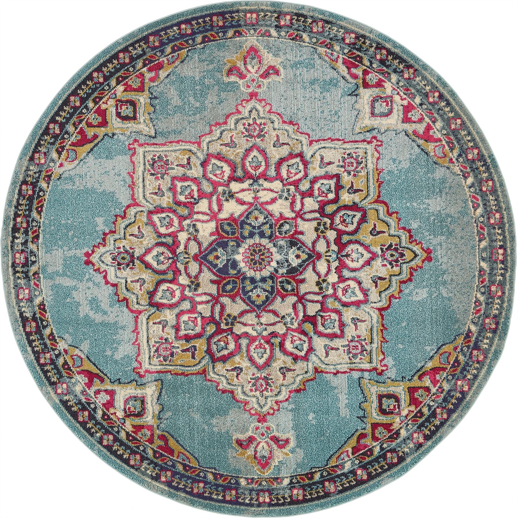 Vintage Throw Rugs: Home Rug Medallion Carpet Traditional Style Over-dyed Area
