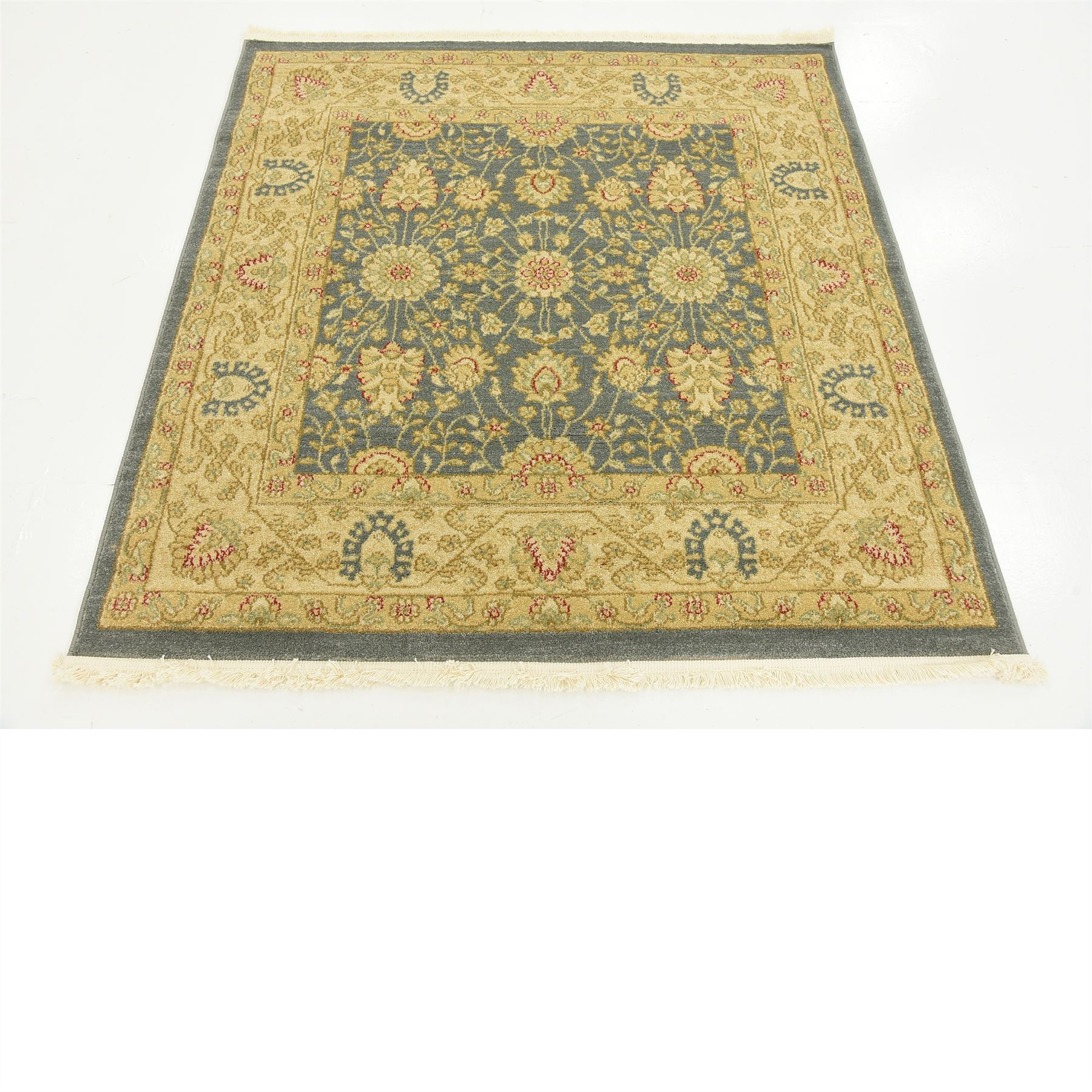 Oriental Traditional Floral Persian Style Rugs Blue 4' X 4