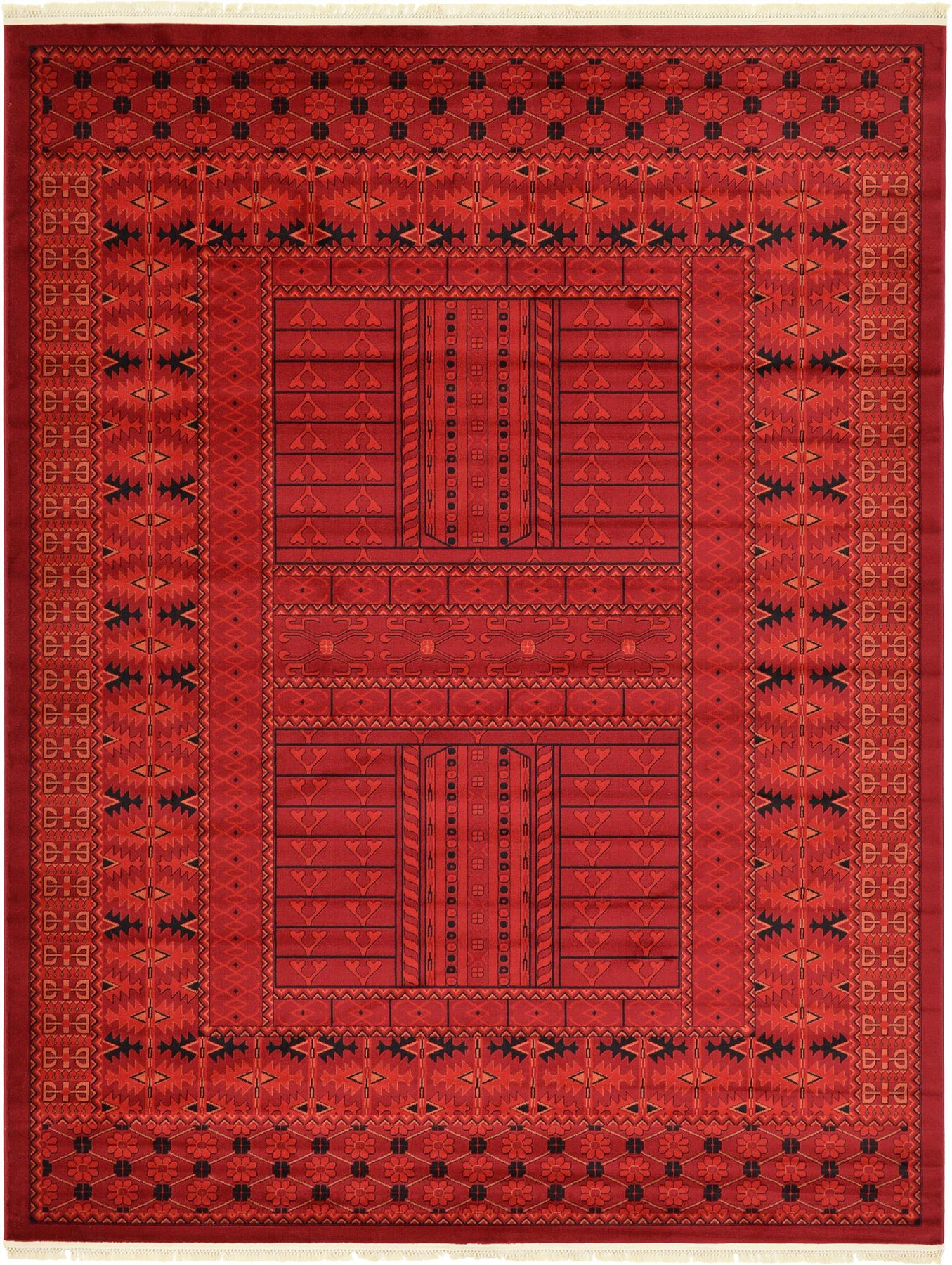 Bokhara red rug persian style rugs traditional carpet in for Area rug sizes