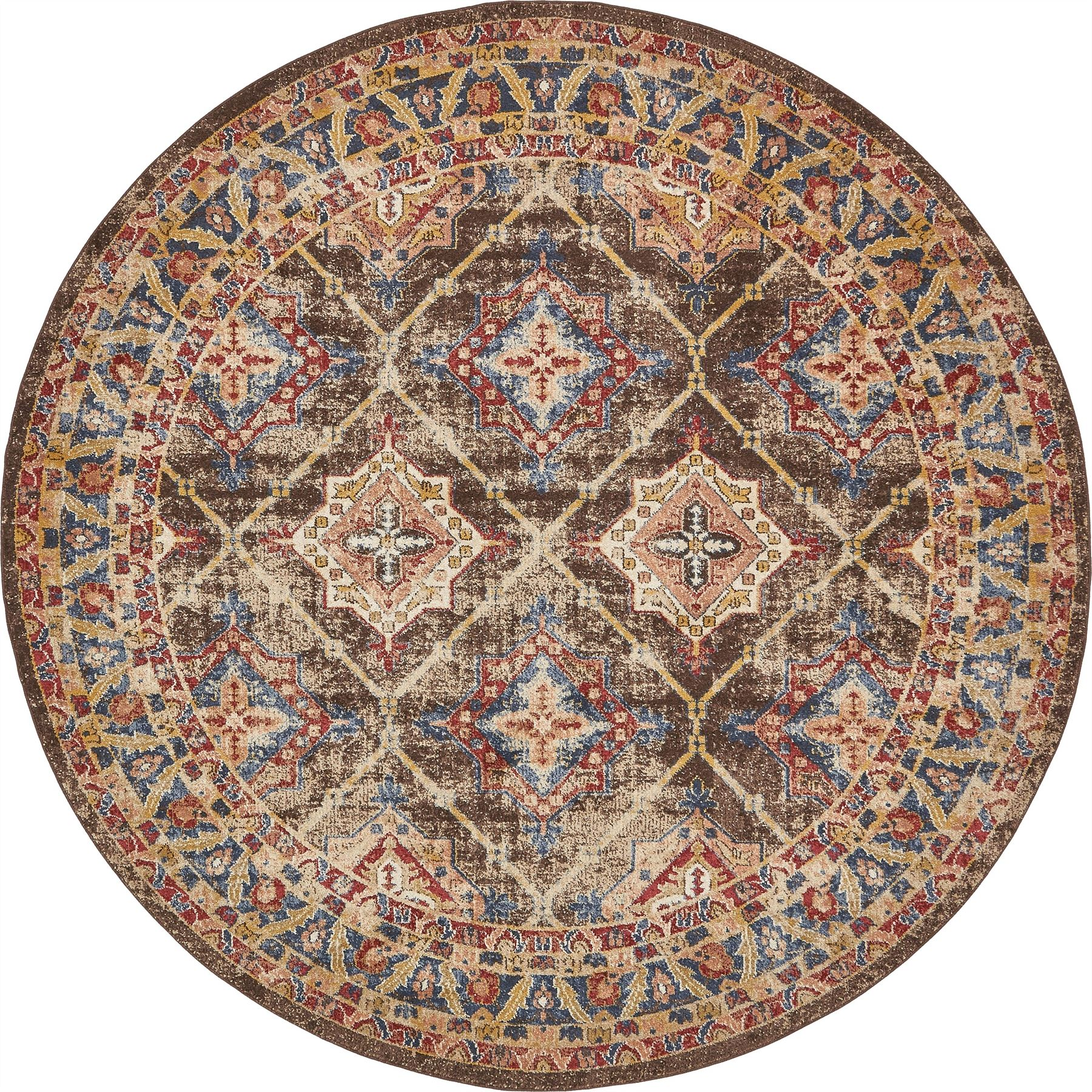 Traditional Large Faded Persian Design Rug Small Vintage