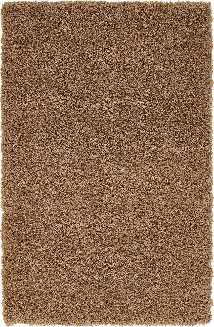 Dunkelbeige Zotteliger Teppich Warm Weich Flauschig Modern