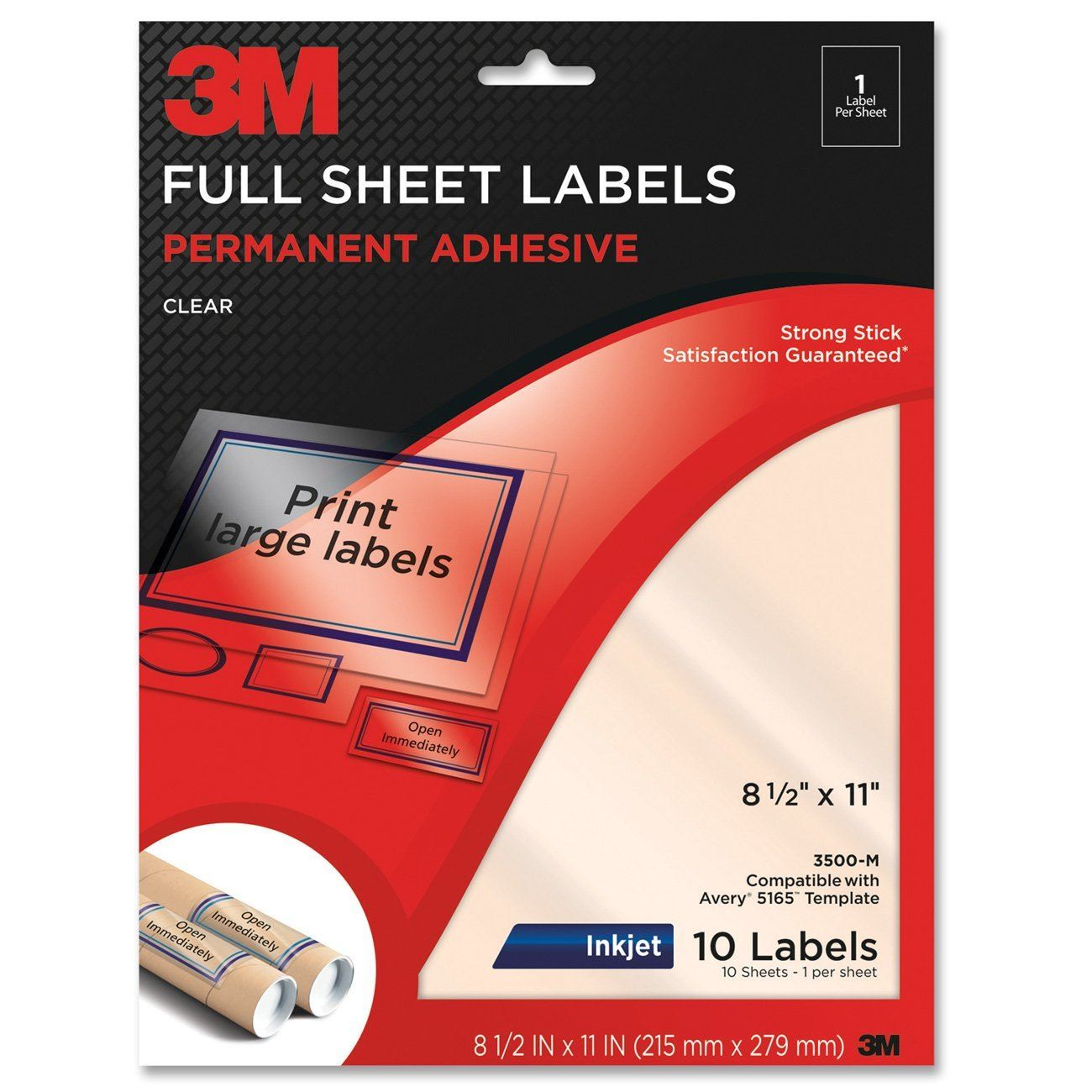 "3M Permanent Adhesive Full Sheet Invisible Labels, 8.5""x11"