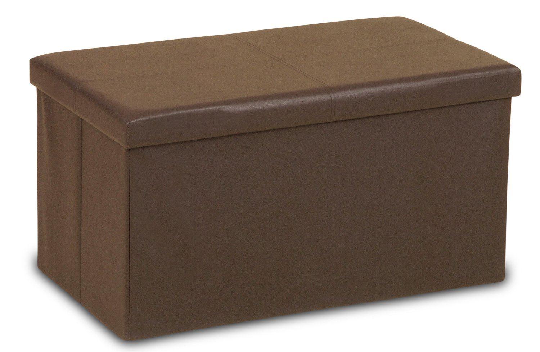 thebigship large faux leather ottoman folding storage