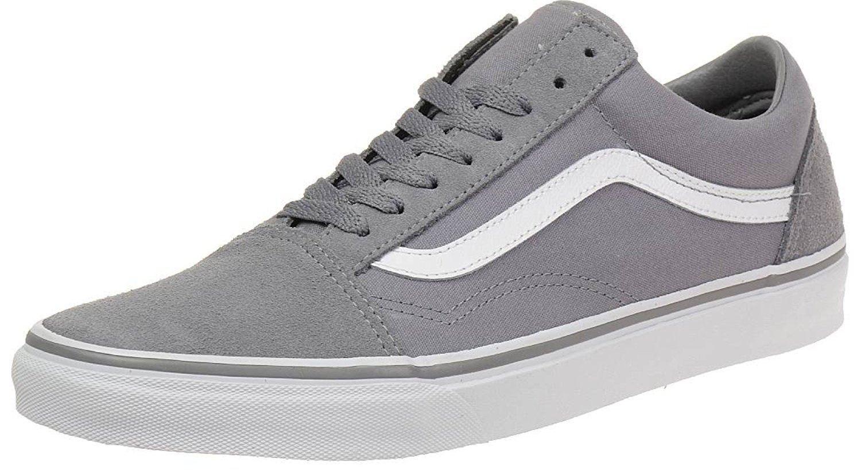 Vans U Old Skool Grey White Mens Suede Skate Trainers Shoes