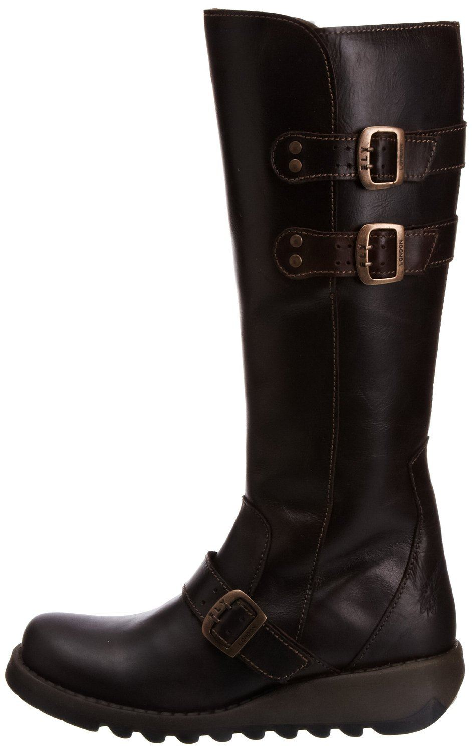 fly solv brown leather womens knee hi boots