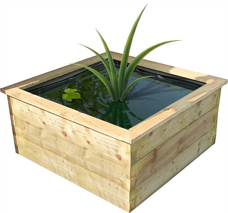 new small robust raised wooden fish pond outdoor feature